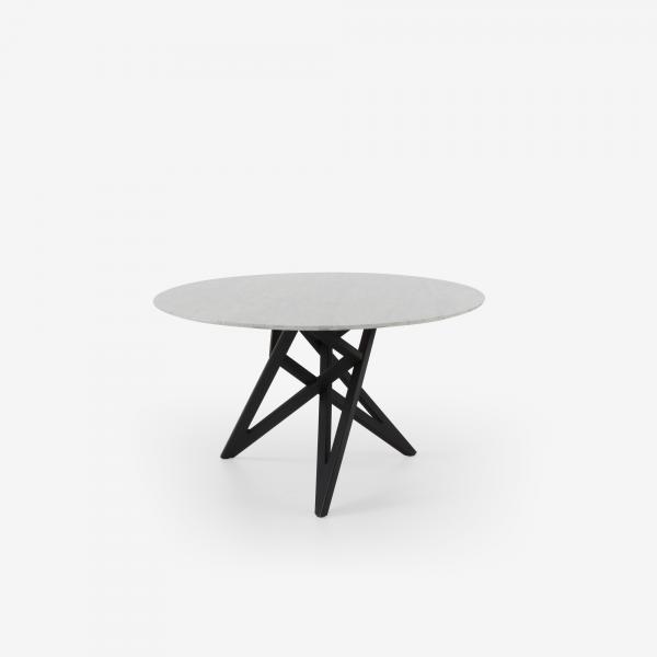 TABLE DE REPAS PIETEMENT CHENE TON NOIR PLATEAU MARBRE Cinna